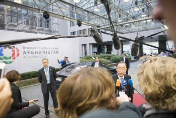 Secretary-General Ban Ki-moon speaks to journalists on his arrival at the venue for the Brussels Conference on Afghanistan.