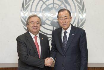 Secretary-General Ban Ki-moon (right) with António Guterres.