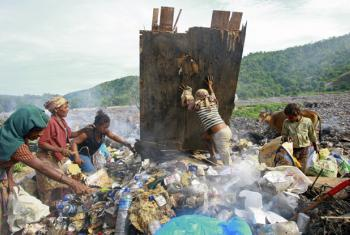 Women and children search a garbage dump for cans to sell.