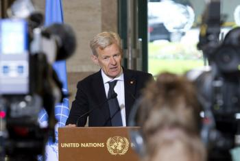 "People are ""desperate"" in Syria, Jan Egeland told journalists in Geneva."