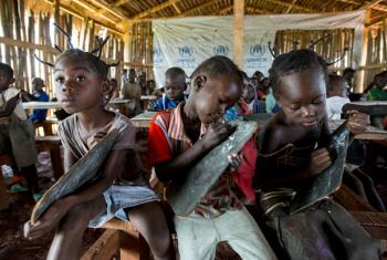 Children from the Central African Republic in the 2014 photo at Primary School 1 in UNHCR Mole Refugee Camp, Democratic Republic of the Congo.