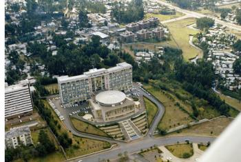 A view of Africa Hall, Headquarters of the Economic Commission for Africa (ECA) in Addis Ababa, Ethiopia.