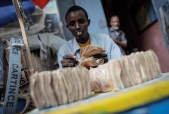 A money exchanger counts Somali shilling notes on a street in Mogadishu.