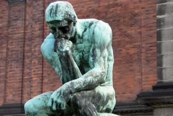 """Sculpture """"The Thinker"""" by Auguste Rodin. World Philosophy Day takes place every November."""