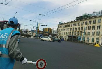 Managing traffic in central Ulaanbaatar, Mongolia.