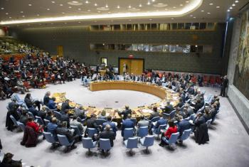 General view of the Security Council meeting on the maintenance of international peace and security, and peace operations facing asymmetrical threats.