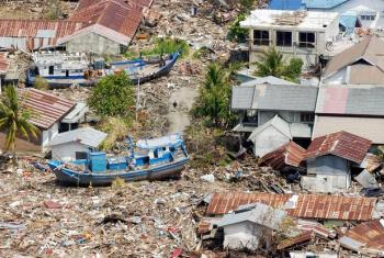 An aerial view of the vast destruction of the Indonesian coast, between the towns of Banda Aceh and Meulaboh, caused by the 26 December 2004 Indian Ocean tsunami.