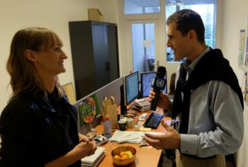 Béa Johnson assesses the office of UN Radio's Daniel Johnson (no relation) .