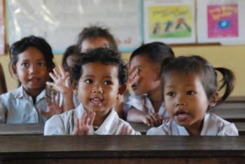 Children in school in Cambodia.