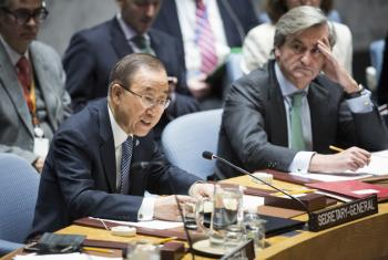 Secretary-General Ban Ki-moon (left) addresses the Security Council meeting on the situation in the Middle East, including the Palestinian question. At his side is Román Oyarzun Marchesi, Permanent Representative of Spain to the UN and Council President f