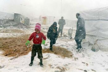 Snowfall in the Bekaa Valley, the region in eastern Lebanon most affected by a massive winter storm which struck on 10 December 2013.