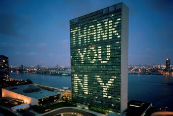 """The United Nations expresses its gratitude to the City of New York for hosting the Millennium Summit by spelling out """"Thank You"""" in lights on its Secretariat Building on 10 and 11 September, 2000."""