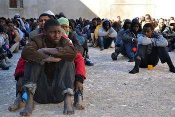 Migrants at a detention centre in the city of Zawiya, Libya.