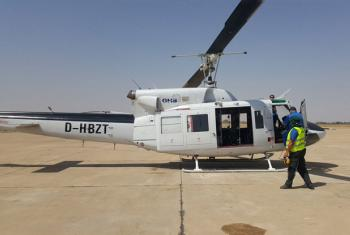 UNHAS helicopter leaving Maiduguri for Rann, the site of a bombed displacement camp. Photo/OCHA