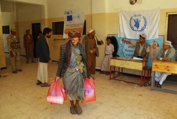 The World Food Programme (WFP) delivering aid to the Bani Husheish area, in the northern Sana'a governorate, Yemen.