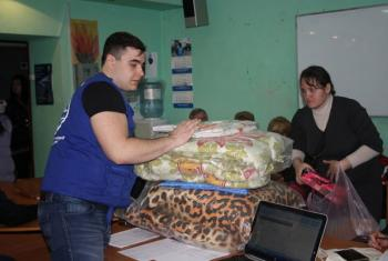 An aid distribution centre in Ukraine, which witnessed a dramatic rise of people in need of humanitarian assistance in 2016, due to the ongoing conflict.