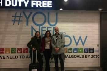 The UN team at the #YouNeedToKnow campaign launch at Zurich airport: Jana Bauerova, Aziyade Poltier-Mural and Emmanuel Hungrecker.