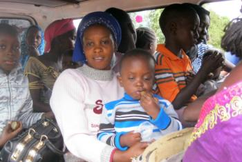 Women and children from The Gambia after crossing the border into Senegal.