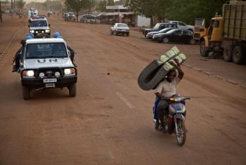 Rwandan Peacekeepers from the UN Multidimensional Integrated Stabilization Mission in Mali (MINUSMA) patrol the streets of Gao, in northern Mali.