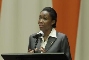 Dessima Williams, Special Adviser on Implementation of the Sustainable Development Goals, addresses at UN Headquarters an event titled 'Mental Health for All: Local Strategies.'
