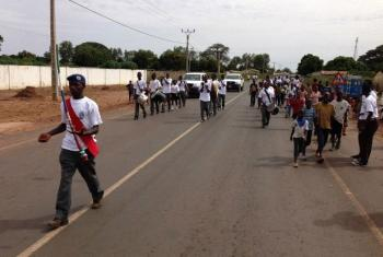 A marching band in Farafenni, a market town in The Gambia, just south of the border with Senegal.