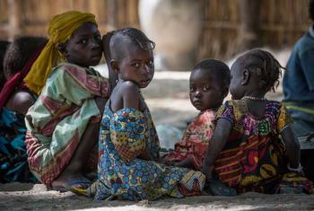 Bada, Kako, 3 years old, and other IDP children in the village of Tagal, Lake Chad region, Chad.