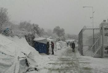 Migrant and asylum seeker camp on the Greek island of Lesvos covered in snow as icy temperatures and heavy snowstorms affect region.