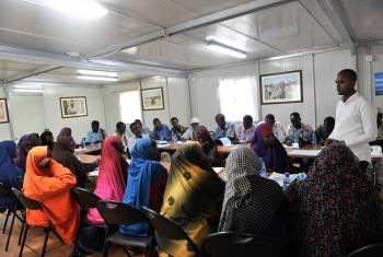 IDPs attend a training session on Human Rights, Gender and Sexual Violence in Mogadishu, Somalia, which was supported by the UN Assistance Mission in Somalia (UNSOM).