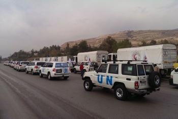 A humanitarian convoy on its way to the besieged Syrian town of Madaya.
