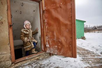 On 13 February 2017, when there seemed to be a pause in the shelling and fighting, Sasha, 6, carefully ascends the steep steps that lead outside of the cellar of her home, about 15 kilometres from the contact line in Toretsk, Donetsk Region, Ukraine.
