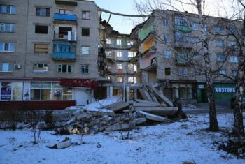 Destruction in the conflict in Mykolaivka in the Donetsk region of eastern Ukraine, where the conflict dates back to 2014.