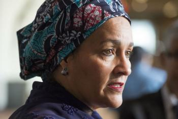 Deputy Secretary-General Amina J. Mohammed, who was sworn in by Secretary-General António Guterres earlier in the day, speaks to journalists on her first day at work in office.