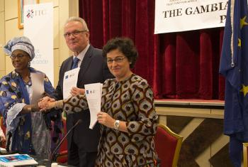 From left to right: Isatou Touray, Gambia's Trade Minister; Neven Mimica, European Commissioner for International Cooperation and Development, and Arancha González, Executive Director of the International Trade Centre, at the launch of the Youth Empowerme