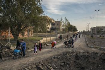 Iraqi families flee east Mosul through the recently liberated Mosul University complex.
