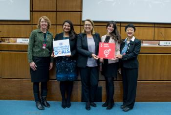 Space for Women: Sandy Magnus, former US astronaut; Minoo Rathnasabapathy, Space Generation Advisory Council; Simonetta Di Pippo, Director, UNOOSA; Laura Jamschon Mac Garry, Argentine Consul in Vienna and Chiaki Mukai, former Japanese astronaut.
