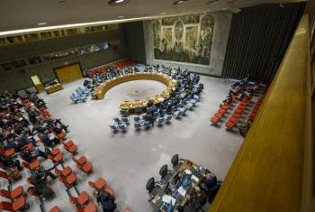 A wide view of the Security Council Chamber.