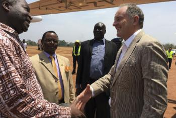 UNMISS chief David Shearer on his visit to Yambio on 22 February.