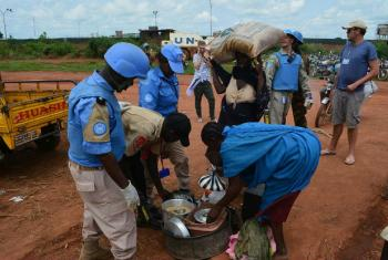 The UN Mission in South Sudan (UNMISS) provides protection to civilians fleeing recent violence in Wau (August 2016).