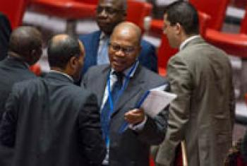 Mohammed Ibn Chambas (centre) in the Security Council Chamber.