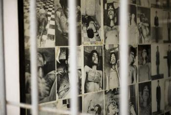 A wall of photos at the Tuol Sleng Genocide Museum in Phnom Penh, Cambodia, the site of infamous Security Prison S-21, documents the Khmer Rouge's brutal treatment of detainees.
