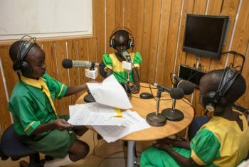 To commemorate the Day of the African Child, UN Radio Miraya, run by the UN Mission in South Sudan, gave children the airwaves – allowing students to co-host as radio announcers – starting early in the morning with the a two-hour breakfast show programme