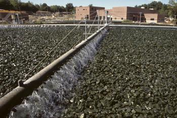 A trickling filter at a wastewater treatment plant in Danbury, Connecticut, in the United States.