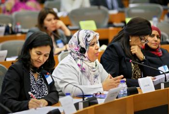 Female politicians at a meeting of women lawmakers from Arab States and members of the European Parliament in November 2014 in Brussels, Belgium.