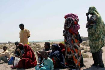 Somali refugees on the coast of Yemen after having undertaken a gruelling sea journey from the Horn of Africa.