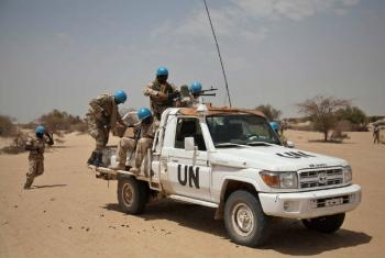 UN peacekeepers outside Ber, north east of Timbuktu, Mali.