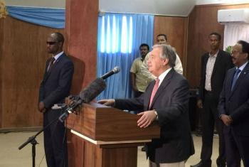 Secretary-General António Guterres holds a joint press conference with President Mohamed Abdullahi Farmajo of Somalia (far right) in the capital Mogadishu.