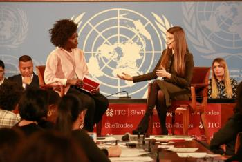 Online fashion promoter Xenia Tchoumi (right) with the International Trade Centre's (ITC) Vanessa Erogbogbo, discussing the digital empowerment of women at the UN in Geneva.