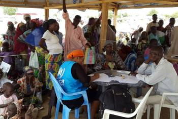 Nigerian refugees register with UNHCR officials at Minawao Camp, northern Cameroon.