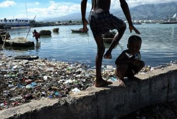 Children play in the bay of Cité Soleil in Port-au-Prince, Haiti.