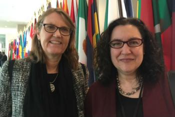 Helena Molina Valdes (L) and Rita Cerruti (R) of the Climate and Clean Air Coalition (CCAC) at a UN event on Climate Climate Change and the Sustainable Development Agenda on 23 March 2017.